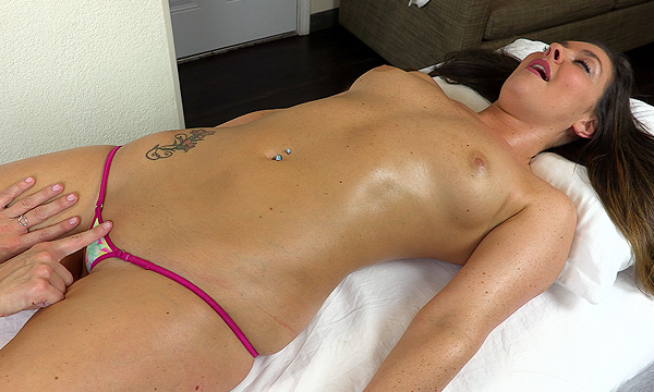 Anabelle Pync massages Brittany Shae's pubic area