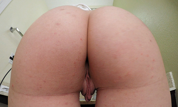 Close-up booty shot of Arielle Lane as she brushes her teeth