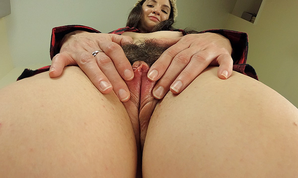 Up shot of Arielle Lane as she spreads her pussy lips open