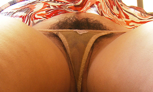 Frontal upskirt shot of Arielle Lane wearing a sheer nude micro thong