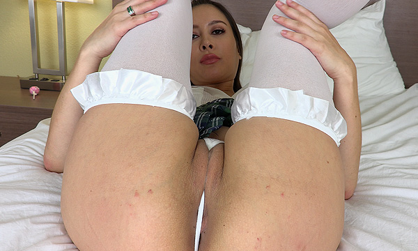 Bliss Dulce lifts her legs to expose her perfect pussy