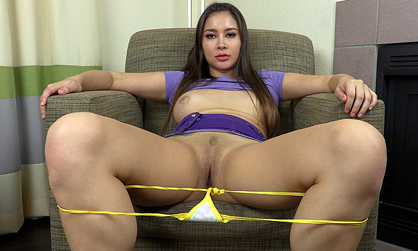 Upskirt shot of Bliss Dulce with her panties down around her knees