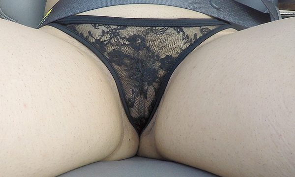 Sitting upskirt close-up of Jazmine's sheer lace panties