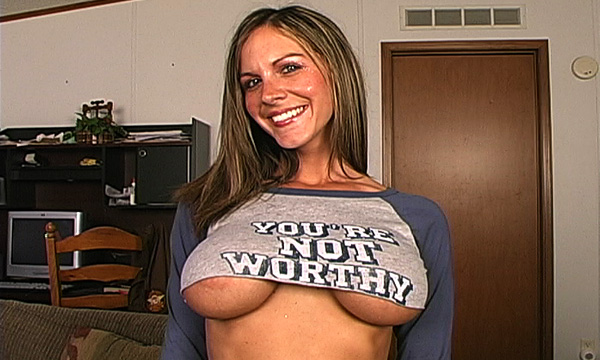 Underboob of Kalani Breeze wearing a tiny t-shirt