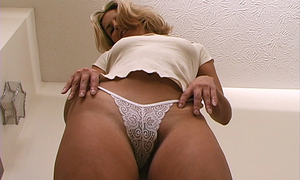 Up shot of Kobe Lee wearing lace panties